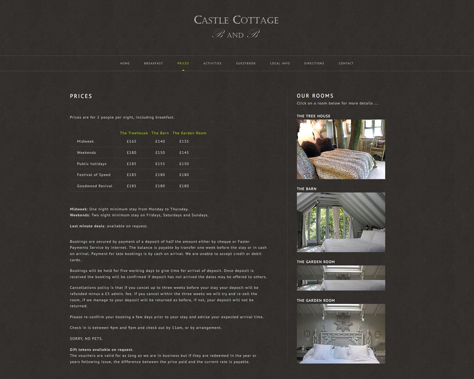 Castle Cottage website