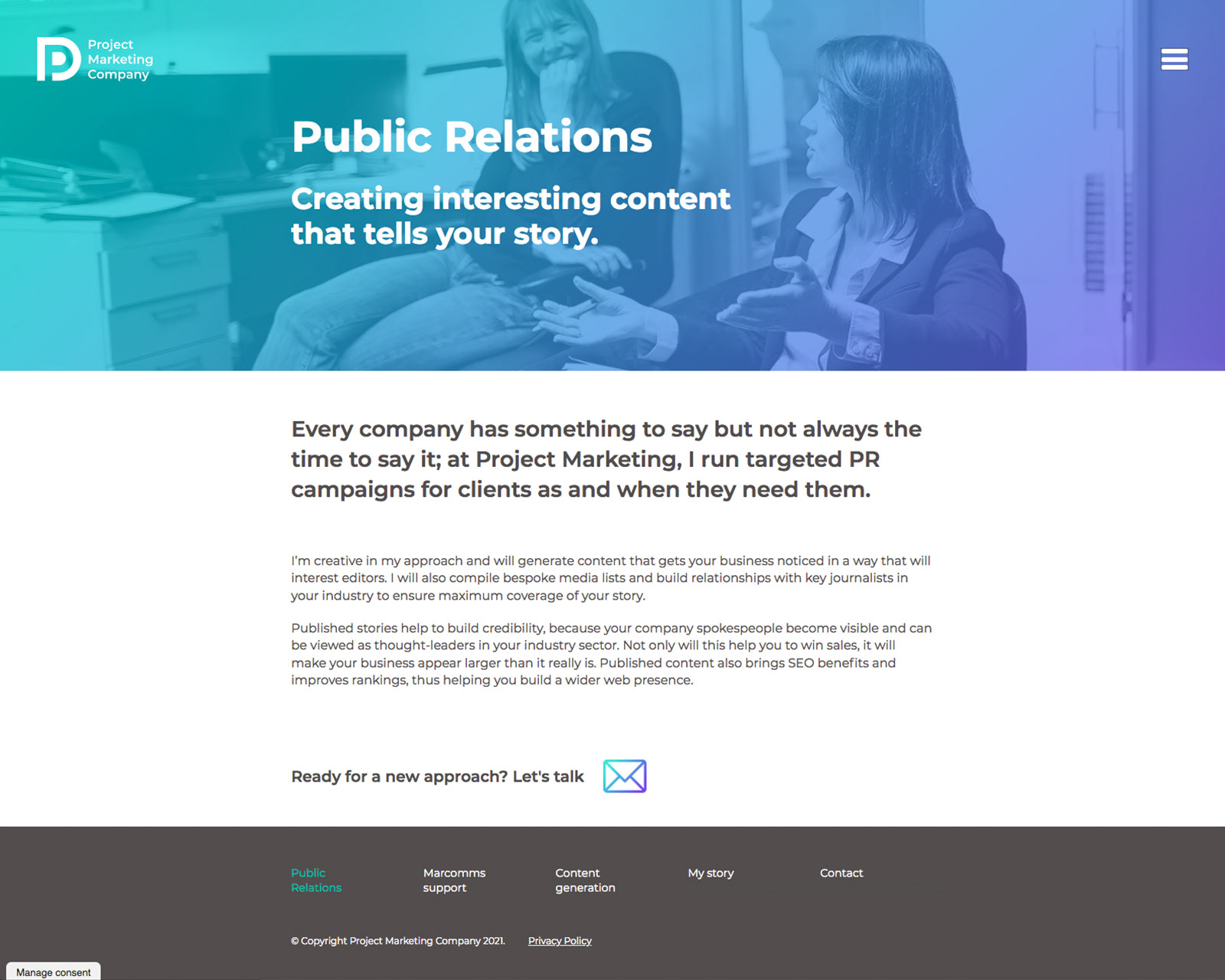 Project Marketing Company website
